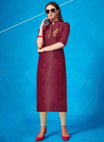 Violet Satin Regular Wear Hand Work Kurti
