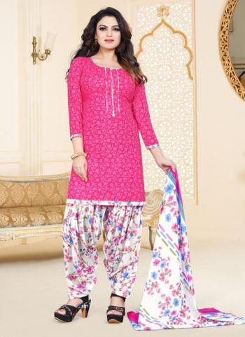 Pink Cotton Regular Wear Printed Work Patiala Suit