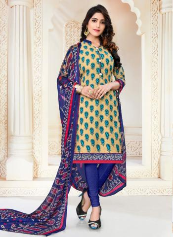 Beige Crepe Daily Wear Printed Work Churidar Suit