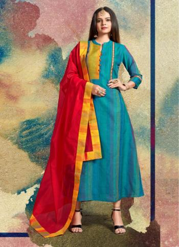Sky Blue Viscose Party Wear Plain Kurti With Dupatta