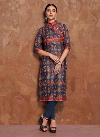 Navy Blue Cotton Casual Wear Plain Kurti