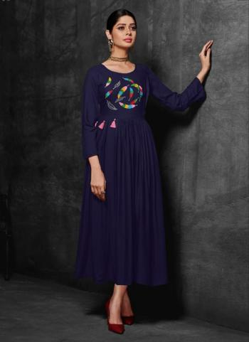 Navy Blue Rayon Party Wear Embroidery Work Kurti