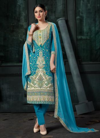 Sky Blue Cotton Jacquard Daily Wear Embroidery Work Churidar Suit