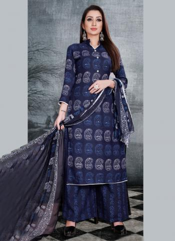 Navy Blue Pashmina Daily Wear Printed Palazzo Suit