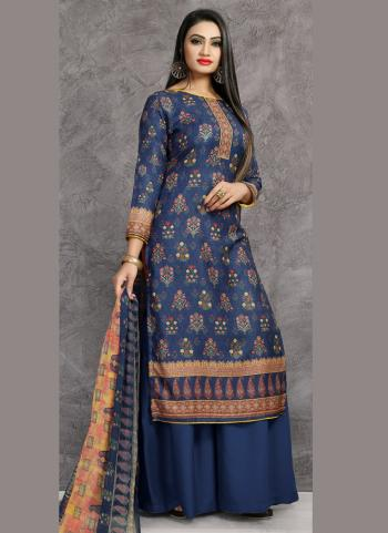 Navy Blue Pashmina Casual Wear Printed Palazzo Suit