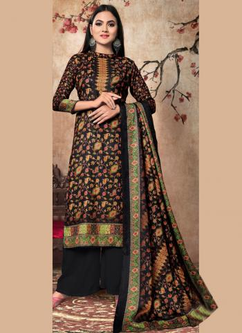Black Pashmina Daily Wear Digital Print Palazzo Suit