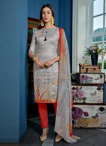 Grey Cotton Muslin Daily Wear Printed Salwar Suit