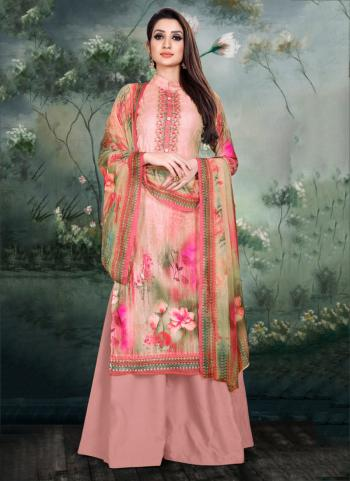 Pink Pashmina Casual Wear Digital Print Palazzo Suit