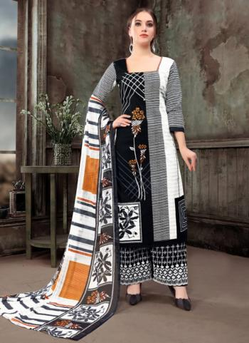 Black Cotton Casual Wear Printed Palazzo Suit