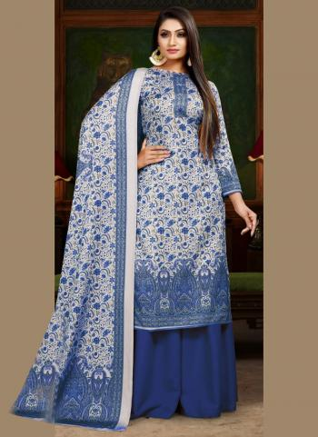 Blue Pashmina Daily Wear Digital Print Palazzo Suit