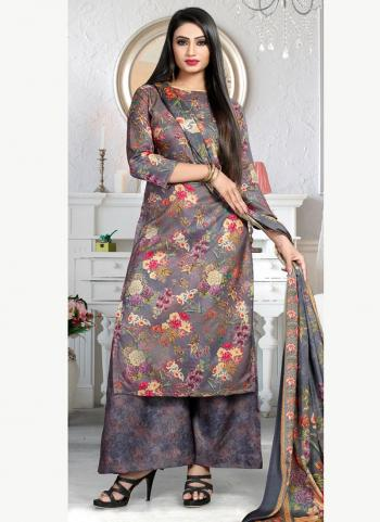 Grey Pashmina Daily Wear Digital Print Palazzo Suit