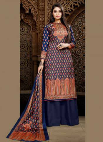 Blue Pashmina Casual Wear Digital Print Palazzo Suit