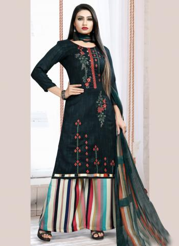 Green Pashmina Casual Wear Embroidery Work Palazzo Suit
