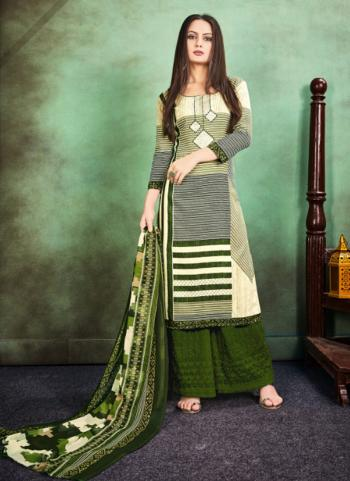 Green Cotton Casual Wear Printed Palazzo Suit