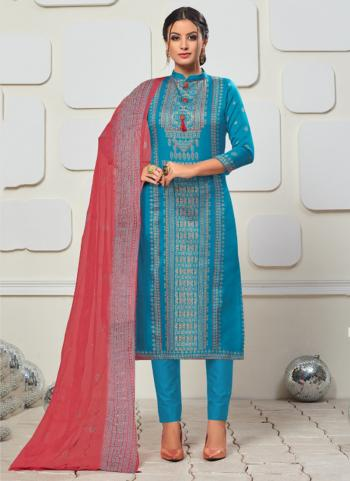 Sky Blue Satin Daily Wear Printed Salwar Suit