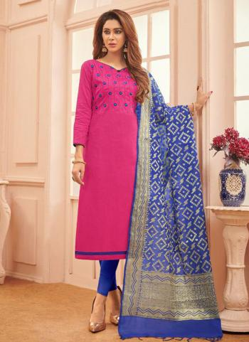 Rani Cotton Daily Wear Embroidery Work Churidar Suit