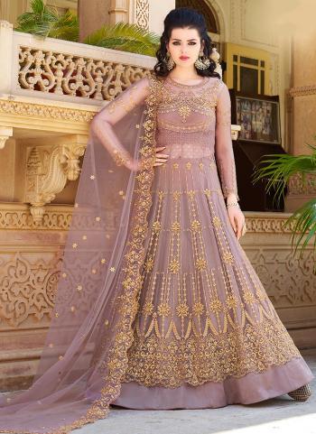 Net Pink Embroidery Work Wedding Wear Anarkali Suit