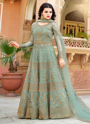 Net Teal Green Embroidery Work Wedding Wear Anarkali Suit
