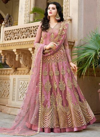 Pink Net Embroidery Work Wedding Wear Anarkali Suit