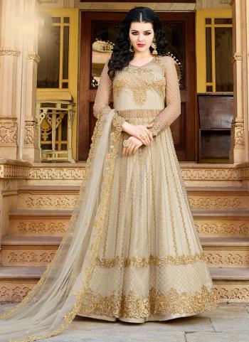 Net Beige Embroidery Work Wedding Wear Anarkali Suit