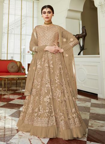 Net Beige Embroidery Work Reception Wear Anarkali Suit
