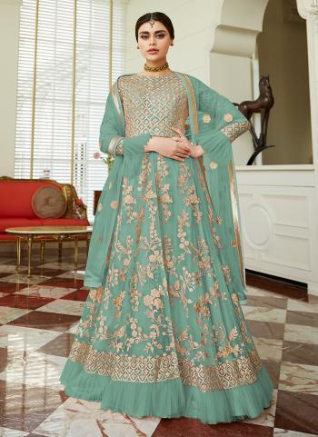 Net Green Embroidery Work Reception Wear Anarkali Suit