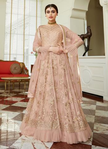 Pink Net Embroidery Reception Wear Anarkali Suit