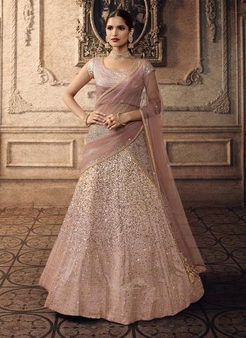Net Pink Sequins Work Bridal Wear Lehenga Choli