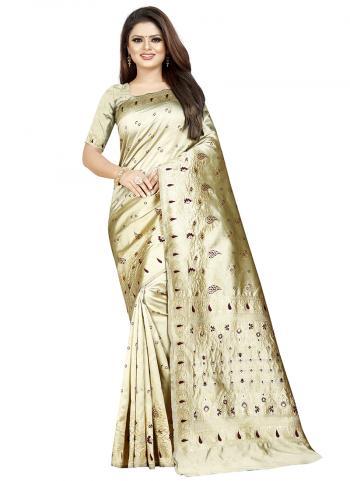 Cotton Silk Beige Weaving Traditional Wear Saree