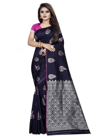 Silk Navy Blue Weaving Wedding Wear Saree