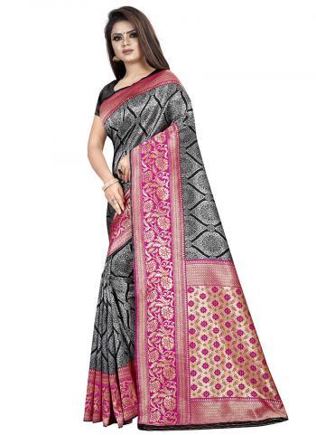 Silk Black Weaving Festival Wear Saree