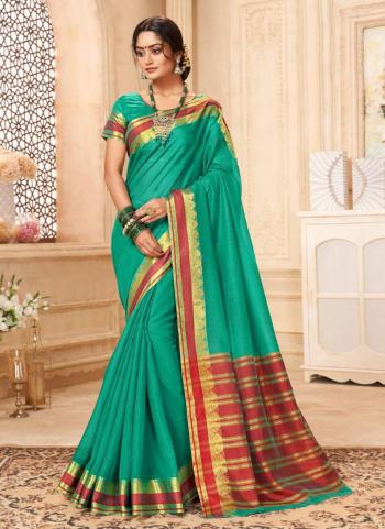 Festival Wear Green Silk Weaving Saree