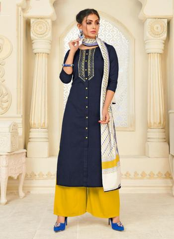 Daily Wear Blue Cotton Embroidery Work Readymade Palazzo Suit