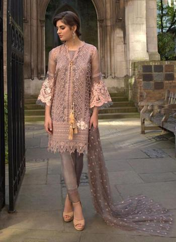 Party Wear Pink Net Embroidery Work Pakistani Suit
