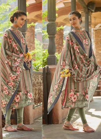 Regular Wear Green Pashmina Printed Work Churidar Suit