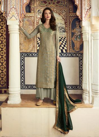 Traditional Wear Green Jacquard Diamond Work Palazzo Suit