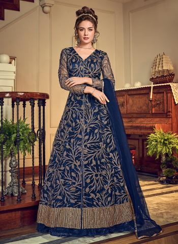 Reception Wear Blue Net Sequins Work Lehenga Suit