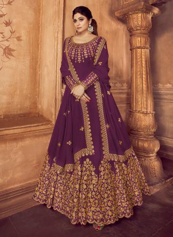 Wedding Wear Purple Georgette Embroidery Work Anarkali Suit