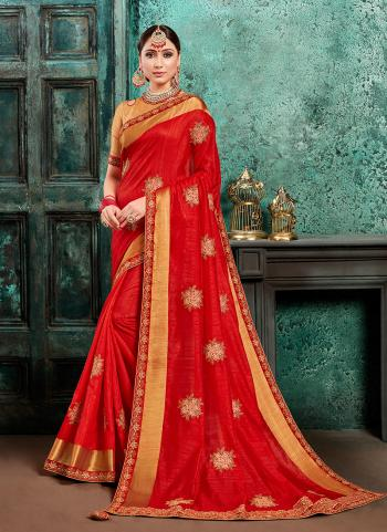 Party Wear Red Silk Embroidery Work Saree