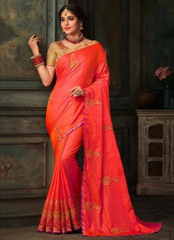 Wedding Wear Red Silk Embroidery Work Saree