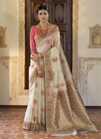 Party Wear Pink Silk Weaving Saree