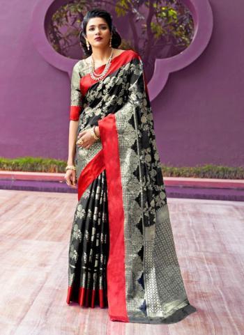 Wedding Wear Black Silk Weaving Saree