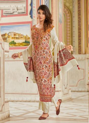 Casual Wear Red Pashmina Printed Work Palazzo Suit