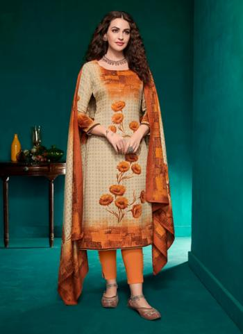 Daily Wear Orange Pashmina Printed Work Churidar Suit