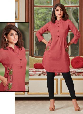 Regular Wear Pink Rayon Embroidery Work Top