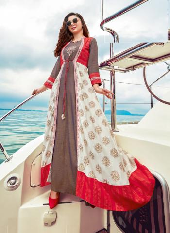 Party Wear Cream Cotton Printed Work Gown