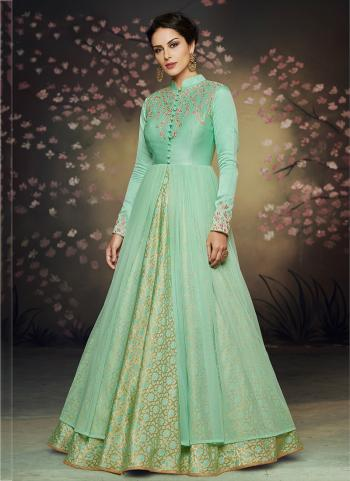 Wedding Wear Green Brocade Embroidery Work Gown