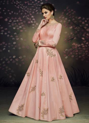 Wedding Wear Pink Silk Embroidery Work Gown