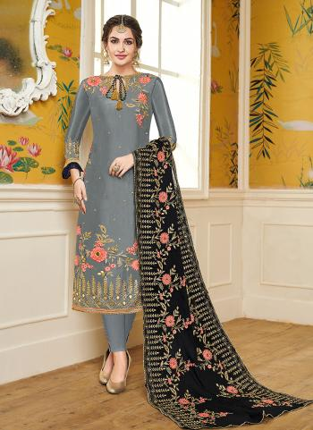 Party Wear Grey Viscose Embroidery Work Churidar Suit
