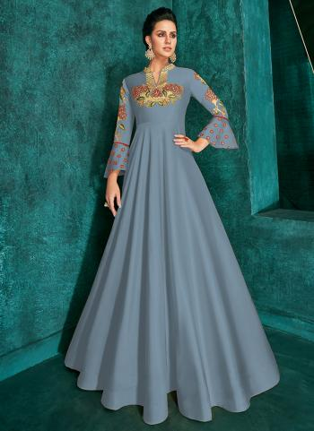 Traditional Wear Blue Silk Embroidery Work Gown